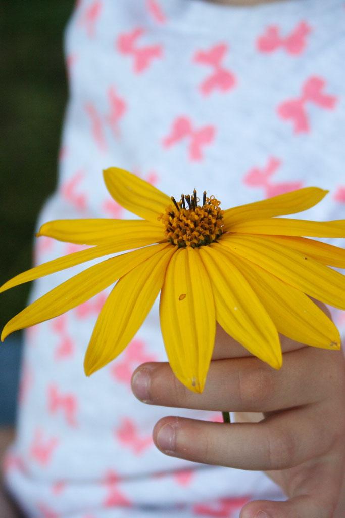 Kind met gele bloem